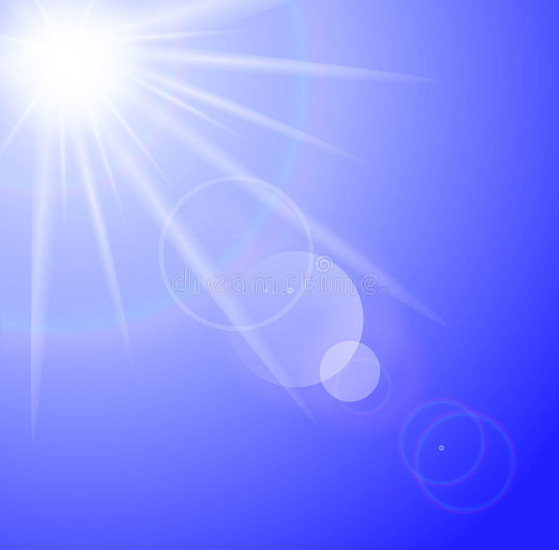 太阳有透镜火光背景 皇族释放例证