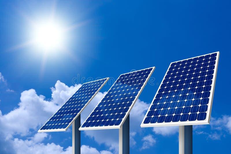 太阳概念的面板 免版税图库摄影