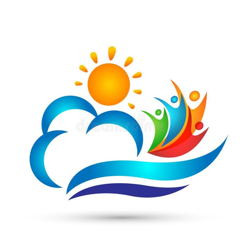 太阳海云彩水波人庆祝商标传染媒介元素象在白色背景的设计传染媒介 库存例证