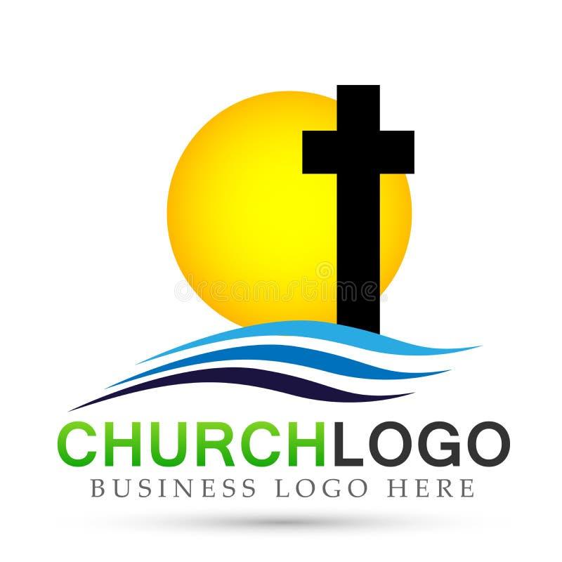 太阳海滩城市教会人联合关心爱商标在白色背景的设计象 古典,古老 在空白背景 向量例证