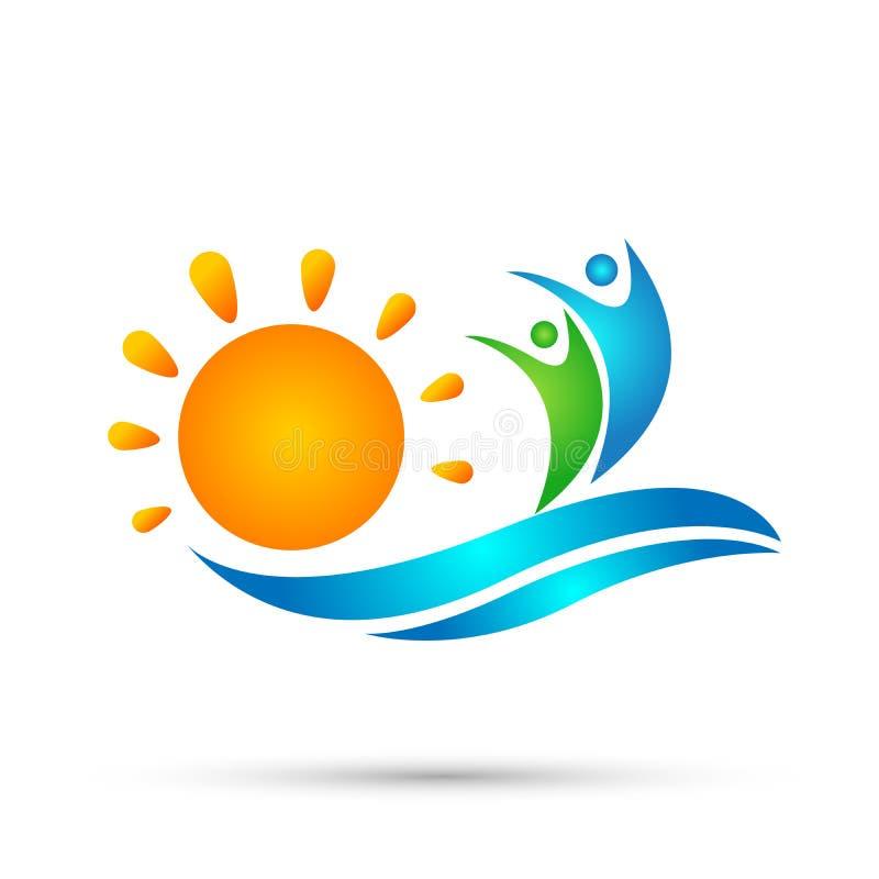太阳海滩水波人团队工作联合健康庆祝小组作业概念标志象在白色背景的设计传染媒介 向量例证