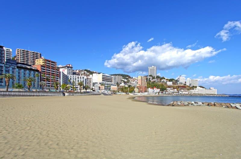 太阳海滩,热海市在日本 免版税库存图片