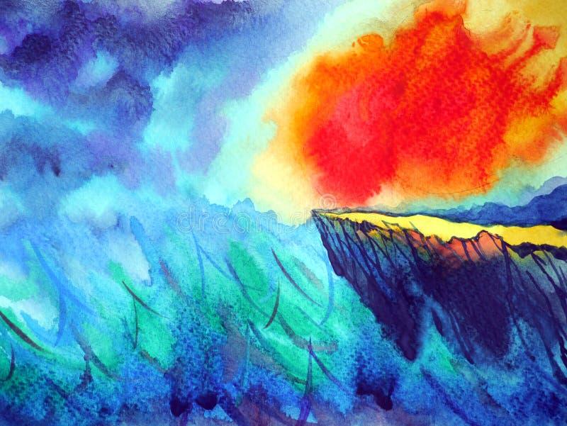 太阳火火焰力量在下雨风暴能量水彩绘画中 库存例证