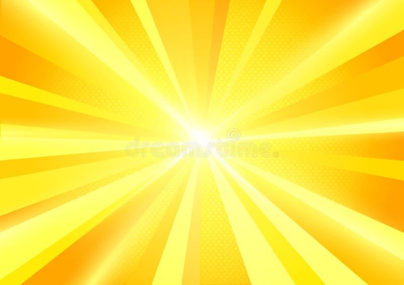 太阳爆炸发出光线背景 向量例证
