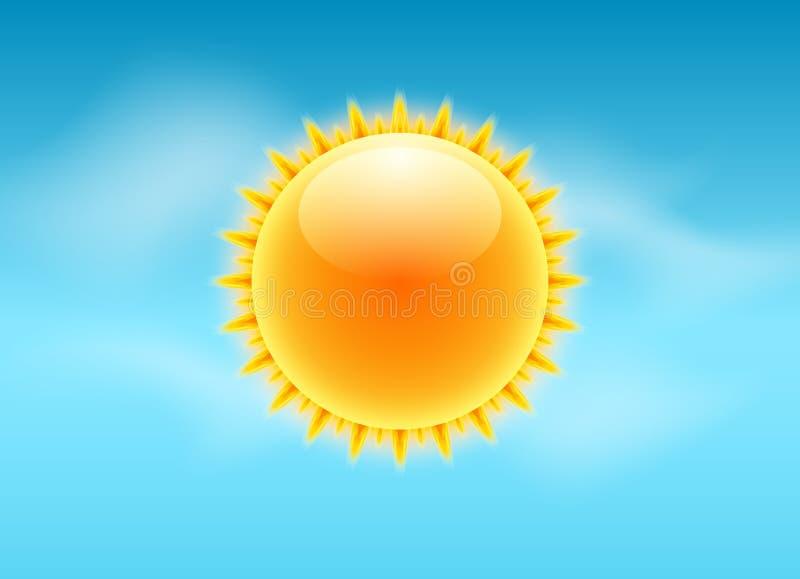 太阳现实光芒象 传染媒介天气预报太阳天空设计 阳光自然夏天光 向量例证