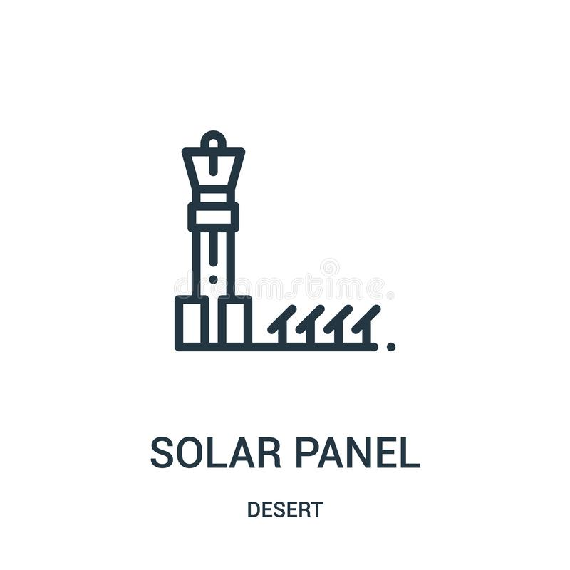 太阳电池板从沙漠汇集的象传染媒介 稀薄的线太阳电池板概述象传染媒介例证 线性标志为使用 库存例证