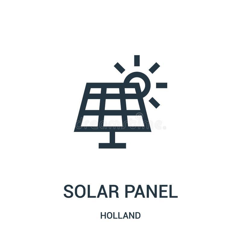 太阳电池板从荷兰汇集的象传染媒介 稀薄的线太阳电池板概述象传染媒介例证 线性标志为使用 库存例证