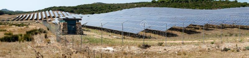 太阳电池板全景 图库摄影
