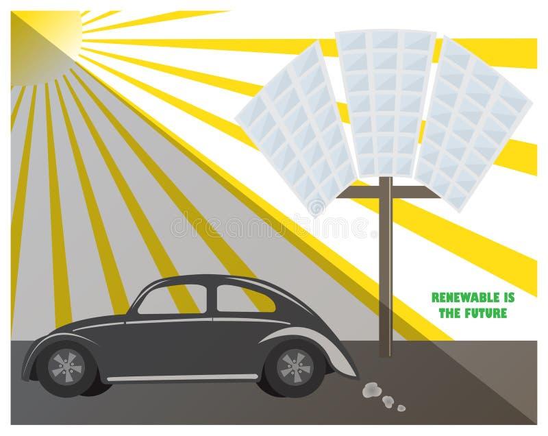 太阳电池板可再造能源太阳汽车燃料污染气候环境未来 皇族释放例证