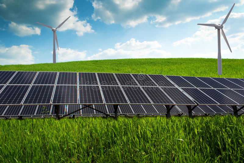太阳电池板和可再造能源 库存图片