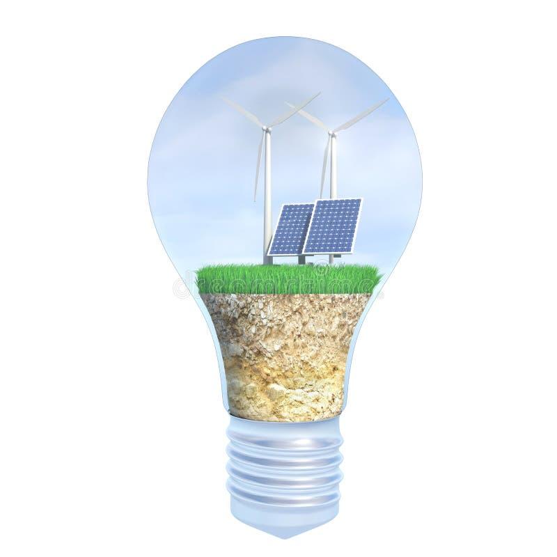 太阳电池板和风能在电灯泡内 向量例证