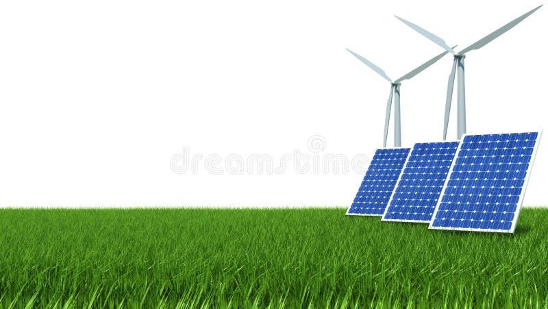 太阳电池板和风能在绿草 库存例证