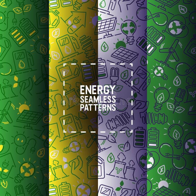 太阳电池板工业例证的背景电传染媒介无缝的样式力量电力电灯泡能量  库存例证