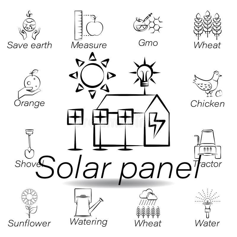太阳电池板手凹道象 种田例证象的元素 E 库存例证