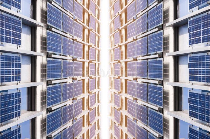 太阳电池板清洁能源工业公共系统技术背景 免版税库存照片