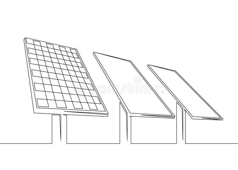 太阳电池板电池,干净的生态可再造能源,生态 向量例证