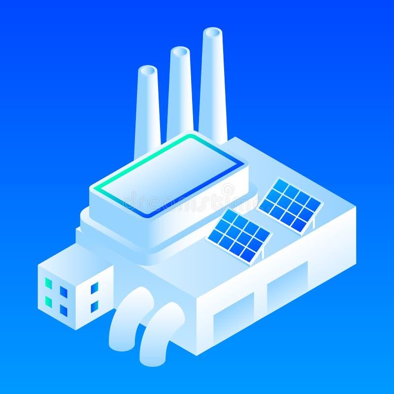 太阳电池板聪明的大厦象,等量样式 向量例证