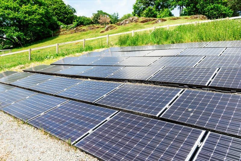太阳电池板,供选择的电来源,金钱的力量, 免版税库存照片