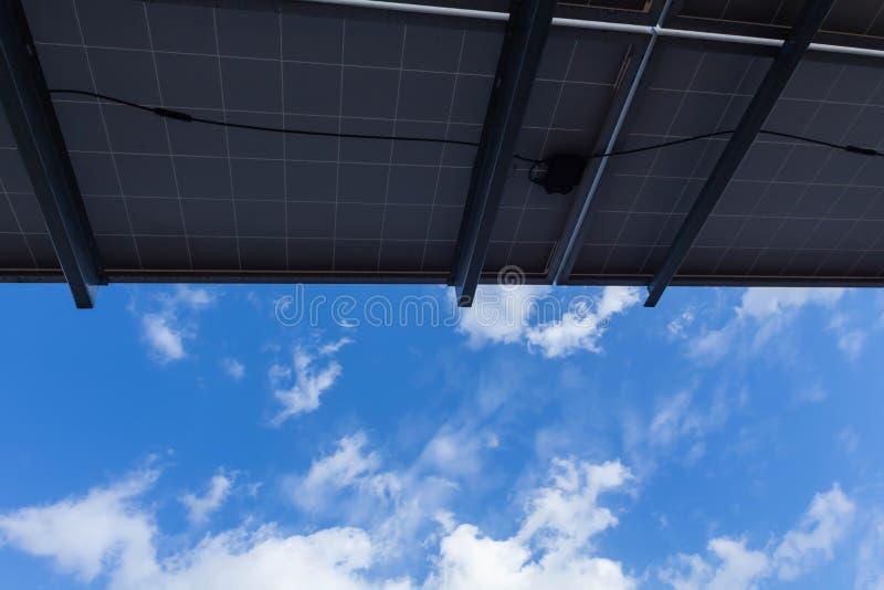 太阳电池板,供选择的电来源-能承受的资源的概念和这是可能引起的一个新的系统 库存照片