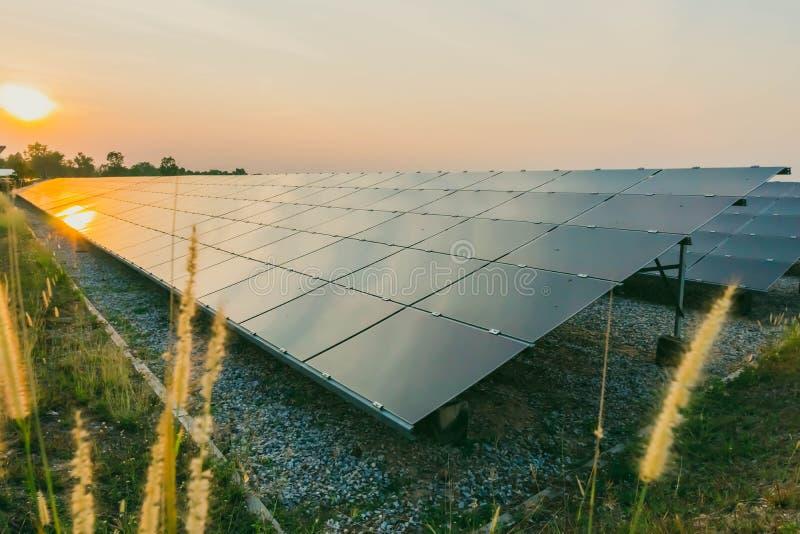 太阳电池板,供选择的电来源-能承受的资源的概念和这是太阳电池板单音类型 免版税库存照片