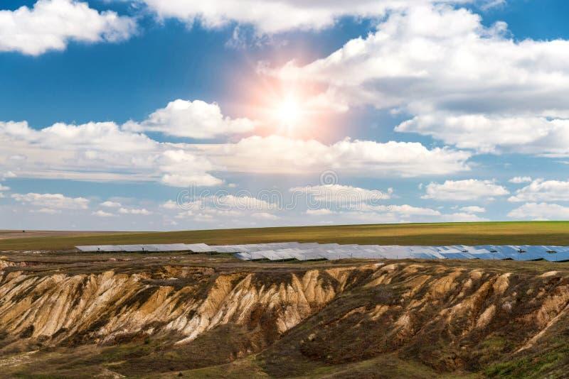 太阳电池板, photovoltaics,供选择的电来源-能承受的资源的概念 免版税库存照片