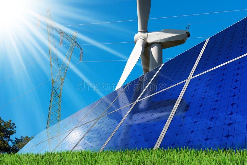 太阳电池板-风轮机-输电线 库存照片