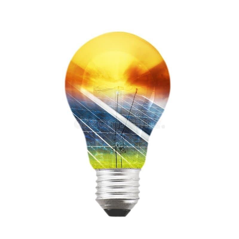 太阳电灯泡的面板 免版税库存图片