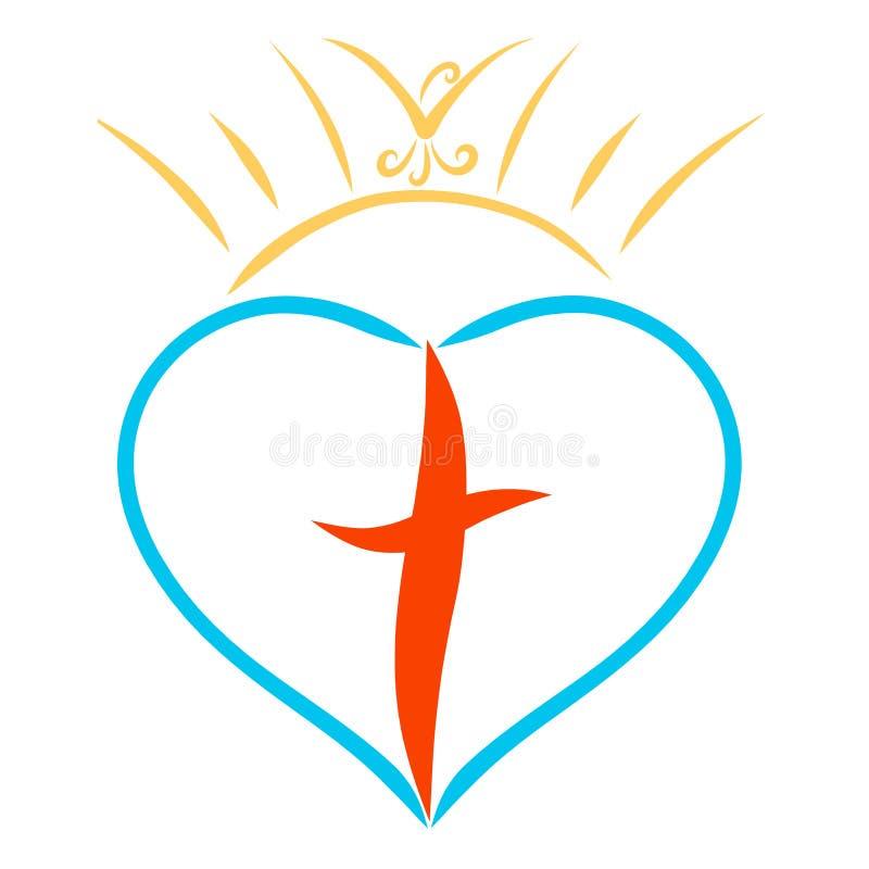 太阳的冠与一只鸟的在与十字架的心脏上 向量例证