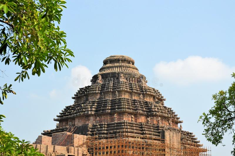 太阳的印度寺庙,科纳克太阳神庙,印度 免版税库存图片