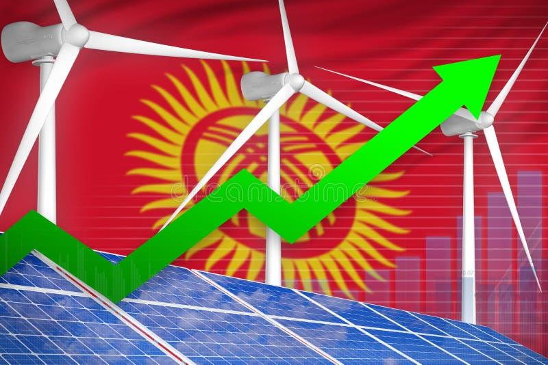 太阳的吉尔吉斯斯坦和风能上升的图,-环境自然能工业例证的箭头 3d?? 向量例证