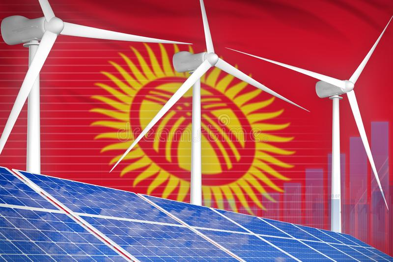 太阳的吉尔吉斯斯坦和风能数字图表概念-环境自然能工业例证 3d?? 库存例证