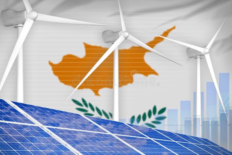 太阳的塞浦路斯和风能数字图表概念-环境自然能工业例证 3d例证 库存例证