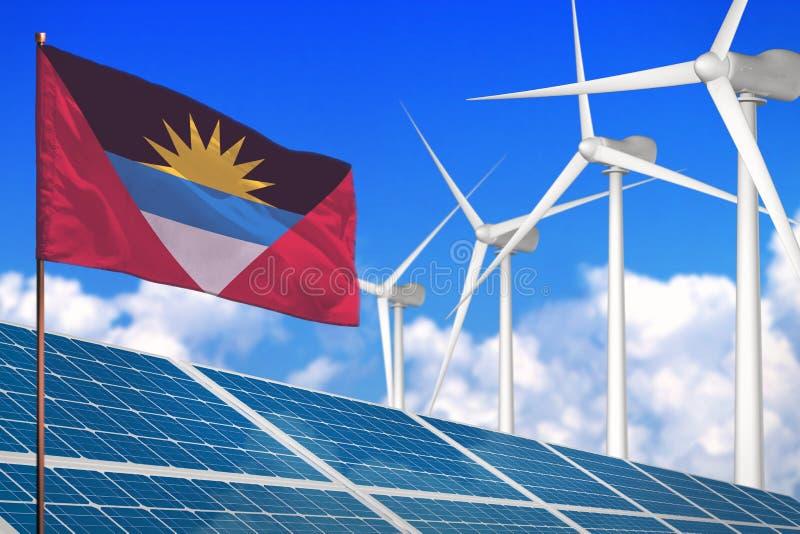 太阳的安提瓜和巴布达和风能,与太阳电池板的可再造能源概念-反对全球性变暖的可再造能源- 向量例证