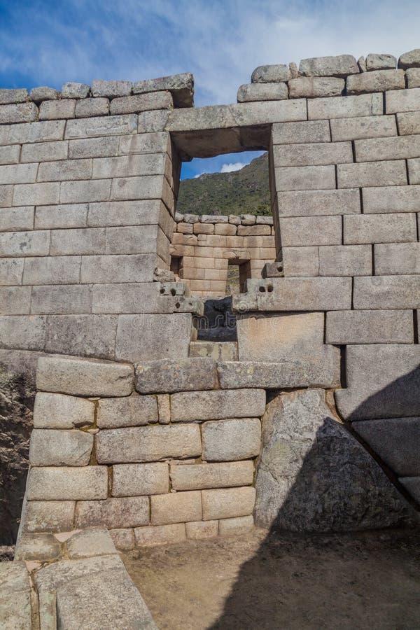 太阳的寺庙在马丘比丘废墟的 免版税库存图片