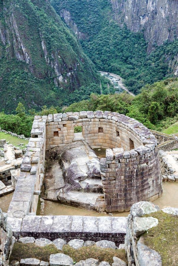 太阳的寺庙在Machu Picchu的 免版税库存照片