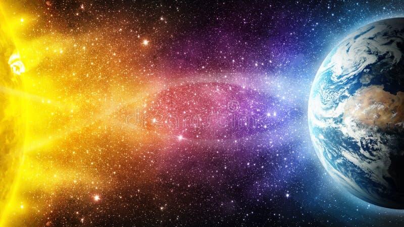 太阳的影响对行星地球全球性温暖, mag 库存例证