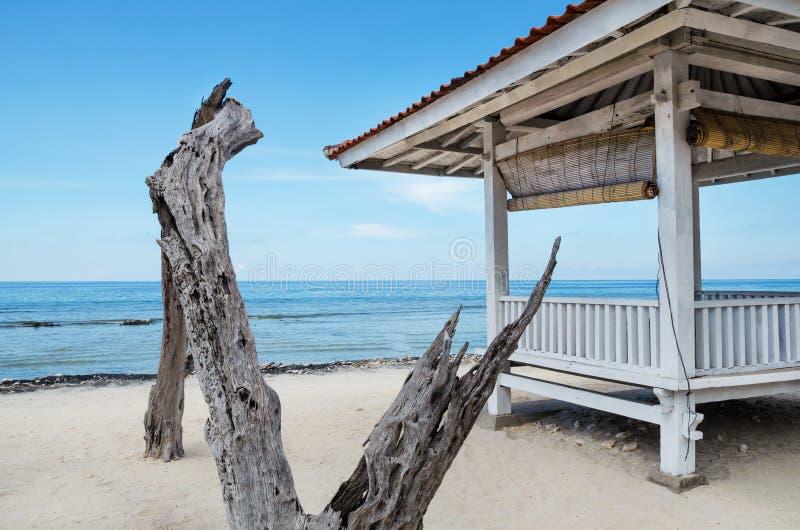 从太阳的机盖在海滩巴厘岛 免版税图库摄影
