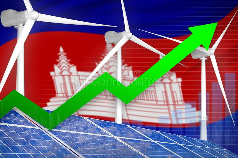 太阳的柬埔寨和风能上升的图,-现代自然能工业例证的箭头 3d?? 库存例证