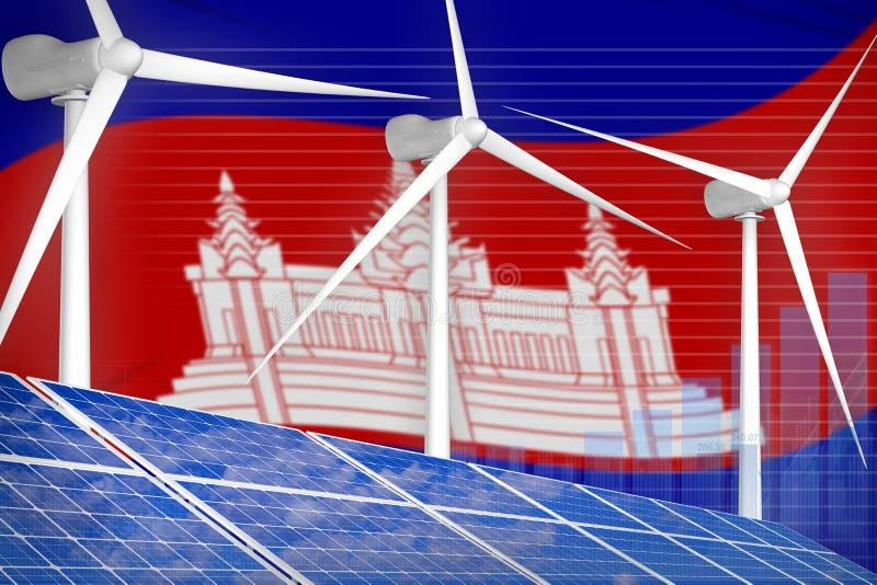 太阳的柬埔寨和风能数字图表概念-环境自然能工业例证 3d?? 向量例证