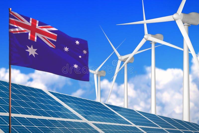 太阳的澳大利亚和风能,与工业的风车的可再造能源概念-反对全球性变暖的可再造能源- 库存例证