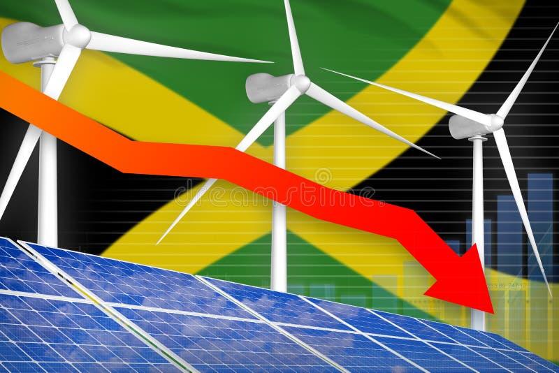 太阳的牙买加和降低图,在-供选择的自然能工业例证下的箭头的风能 3d?? 库存例证