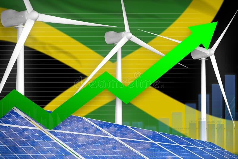 太阳的牙买加和风能上升的图,-现代自然能工业例证的箭头 3d?? 皇族释放例证