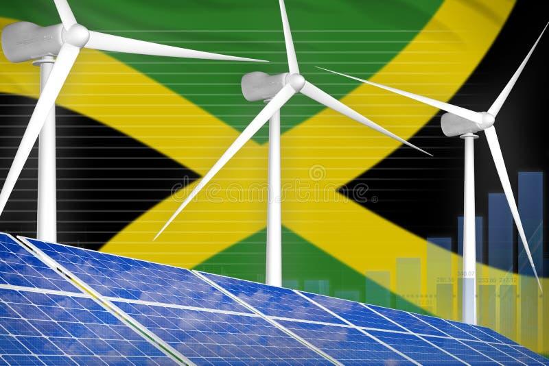 太阳的牙买加和风能数字图表概念-绿色自然能工业例证 3d?? 皇族释放例证