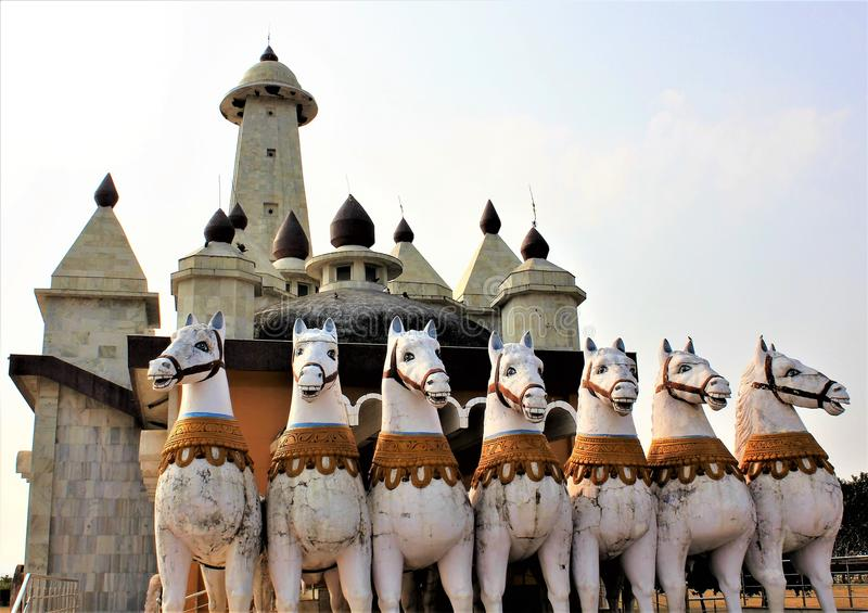 太阳的运输车在太阳寺庙之外的在兰契印度 免版税库存图片
