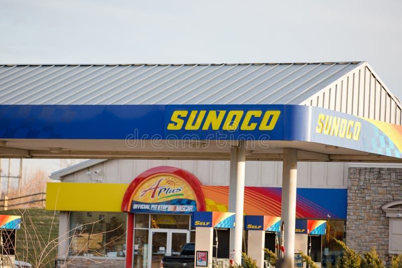 太阳石油公司零售汽油地点 库存照片