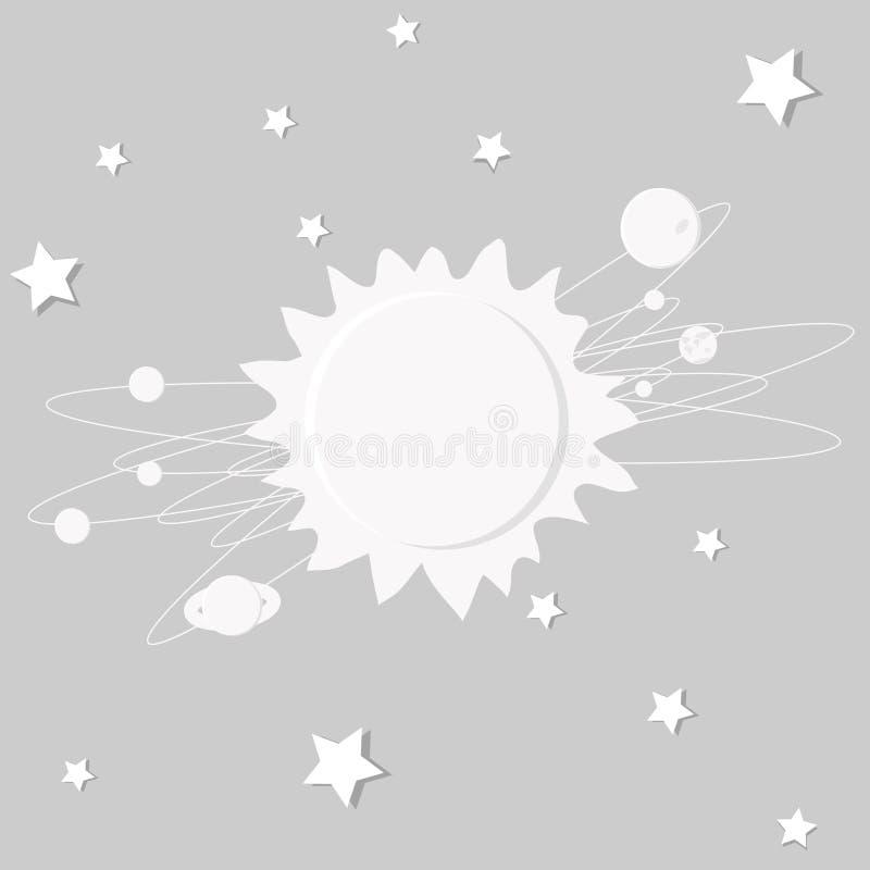 太阳系的异常的抽象在一个灰色背景、空间、星和行星的 库存图片