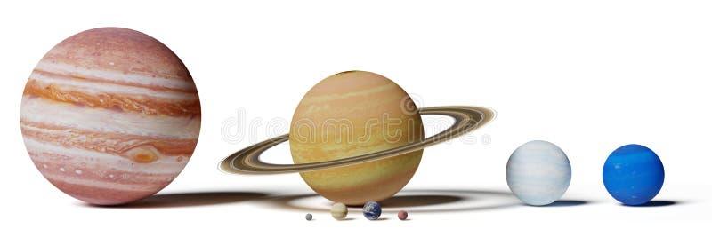太阳系行星、水星、金星、地球、火星、木星、土星、天王星和海王星估量比较被隔绝的白色背景 图库摄影