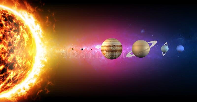 太阳系行星直径大小 巨大比率  皇族释放例证