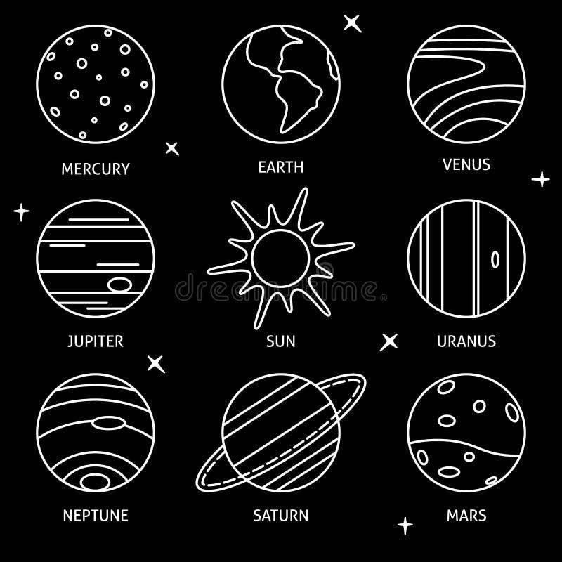 太阳系行星象在稀薄的线型设置了 向量例证