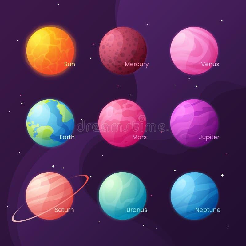 太阳系 与太阳和行星的五颜六色的动画片集合 Vec 皇族释放例证